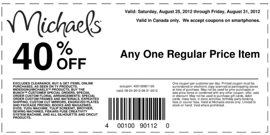 Michaels crafts coupons canada