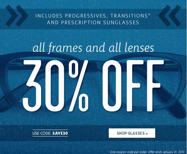 Clearly Contacts 30 Off All Frames and All Lenses (Jan 31)