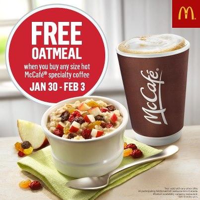 McDonald Free Oatmeal when you buy McCafe (Jan 30 - Feb 3)