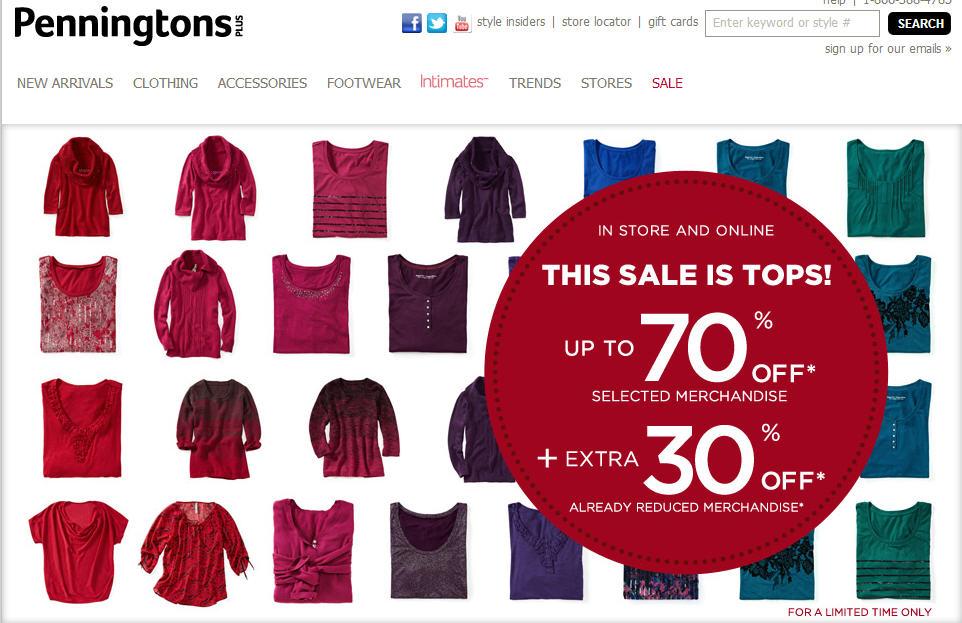Penningtons Up to 70 Off Selet Merchandise Extra 30 Off Sale Merchandise