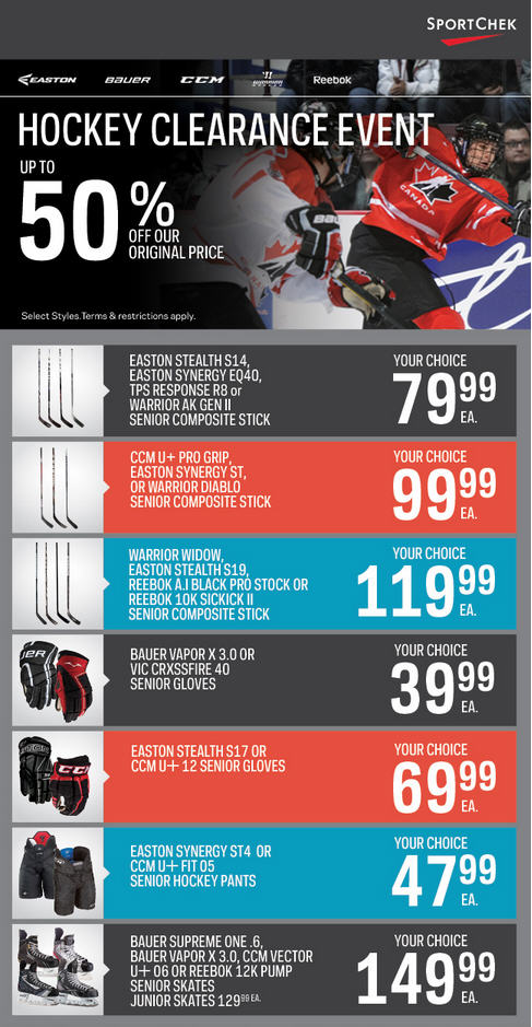 Sport Chek Hockey Clearance Event - Up to 50 Off Select Styles 25 Off NHL Merchandise