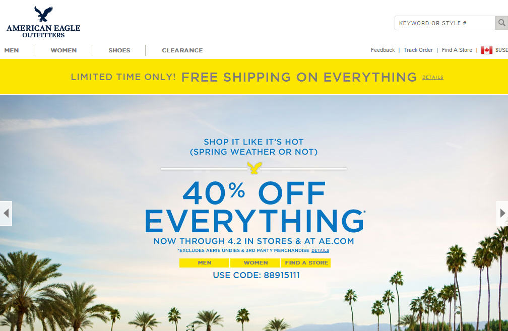 American Eagle Outfitters 40 Off Everything + Free Shipping (Until April 2)