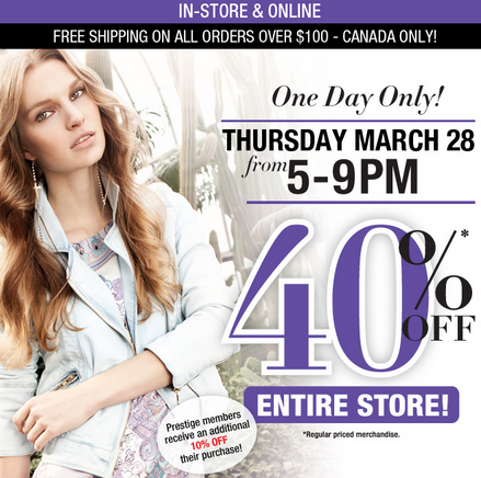 Suzy Shier 40 Off Entire Store - In-Stores or Online (March 28, 5-9pm)