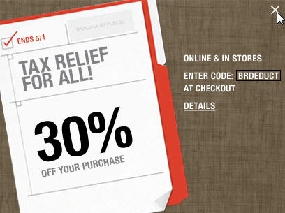 Banana Republic 30 Off Your In-Store & Online Purchase (Until May 1)