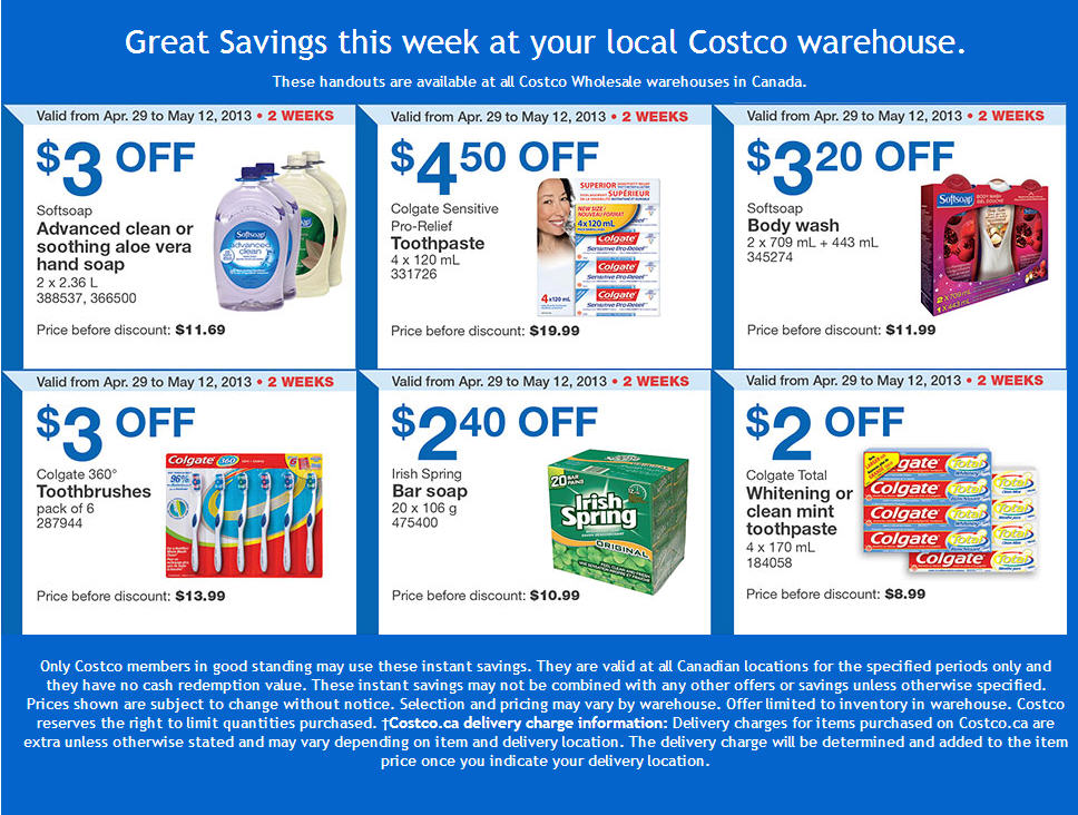 Costco Weekly Handout Instant Savings Coupons (Apr 29 - May 12)