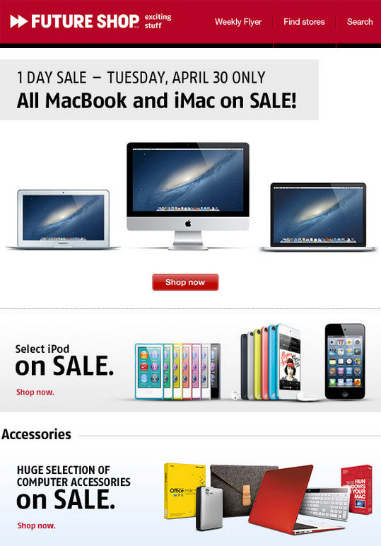 Future Shop All Apple MacBook and iMac on Sale (Apr 30)