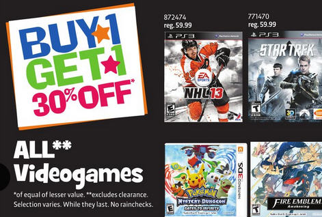 Toys R Us Video Games - Buy 1, Get 1 30 Off (Until May 2)