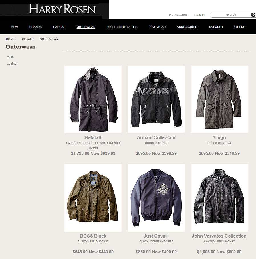 Harry Rosen Fall & Winter Outerwear Clearance