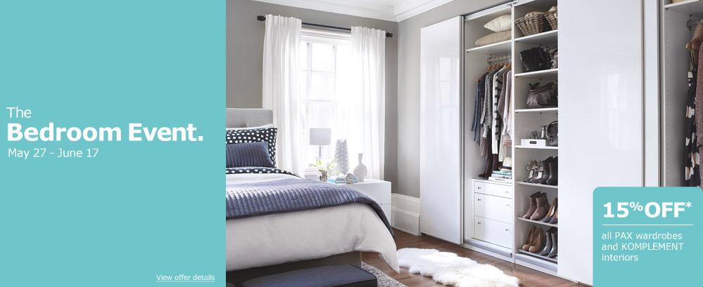 IKEA Bedroom Event - 15 Off all Pax Wardrobes & Komplement Interiors (May 27 - June 17)