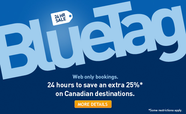 WestJet Blue Tag Sale - Extra 25 Off Canadian Destinations (Book by May 31)