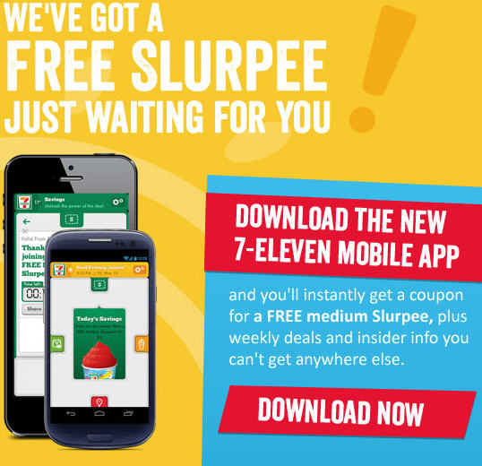7-Eleven FREE Medium Slurpee Coupon when you Download 7-11 Mobile App