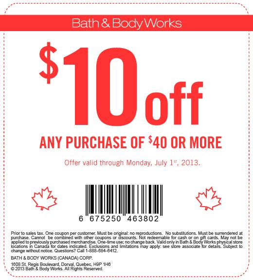 Bath & Body Works Coupon - $10 Off Any Purchase of $40 or More (Until July 1)