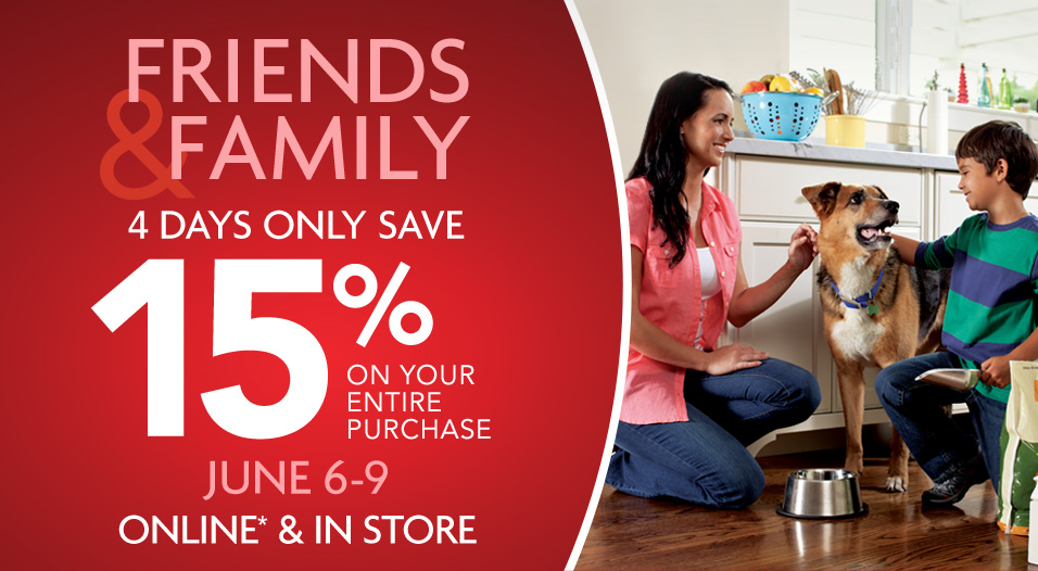 Pet Smart Friends & Family Sale - 15 Off Your Entire Purchase Coupon (June 6-9)
