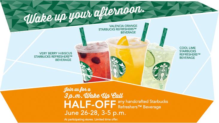 Starbucks 50 Off Any Starbucks Refreshers Beverage from 3-5pm (June 26-28)