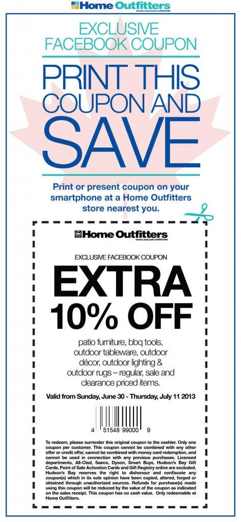 Home Outfitters Extra 10 Off Facebook Coupon (Until July 11)