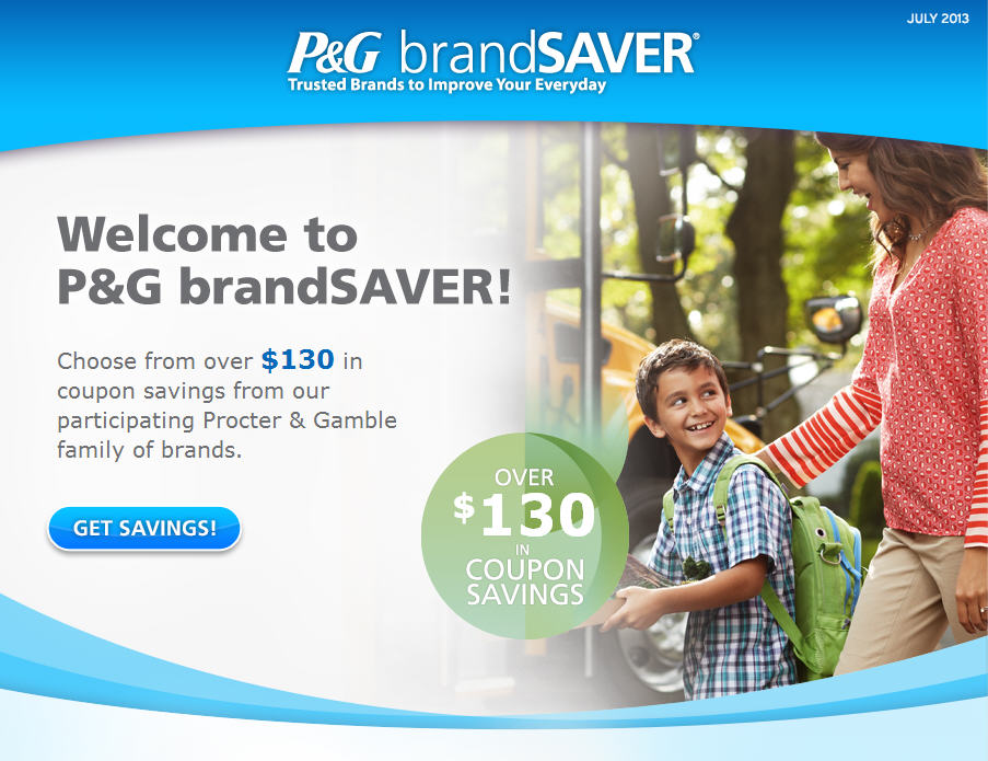 P&G brandSAVER Choose from over $130 in Coupons Savings