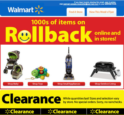 Walmart 1,000s of Items on Rollback + Clearance items