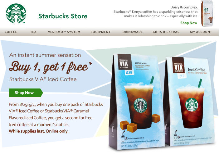 Starbucks Store Buy 1 VIA Iced Coffee, Get 1 Free (Aug 29 - Sept 2)