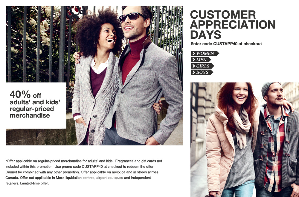 Mexx Customer Appreciation Days - 40 Off Regular Price Merchandise