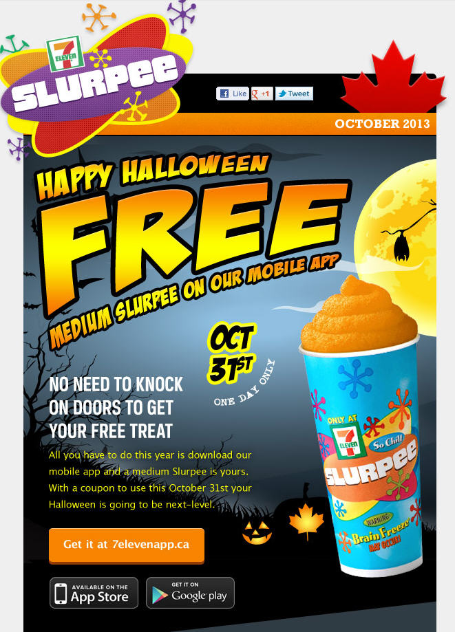 7 Eleven Happy Halloween - FREE Medium Slurpee with Mobile App Coupon (Oct 31)