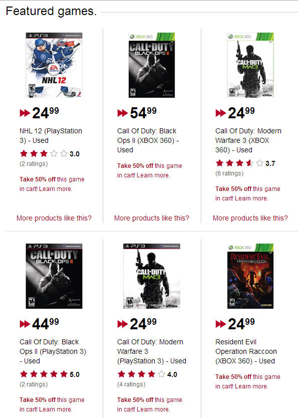 Used video games online shopping