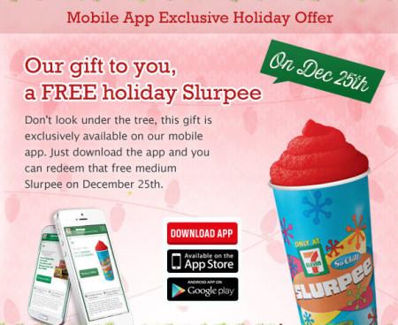 7-Eleven Mobile App Holiday Offer - FREE Medium Slurpee (Dec 25)