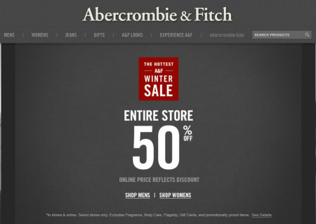 Abercrombie & Fitch 50 Off Entire Store In-Store and Online