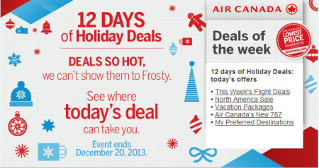 Air Canada 12 Days of Holiday Deals (Dec 9-20)