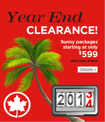 Air Canada Vacations Year End Clearance (Book by Jan 2)