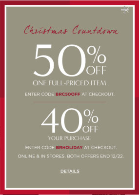 Banana Republic 50 Off 1 Item or 40 Off Your Purchase + Extra 25 Off (Dec 21-22)