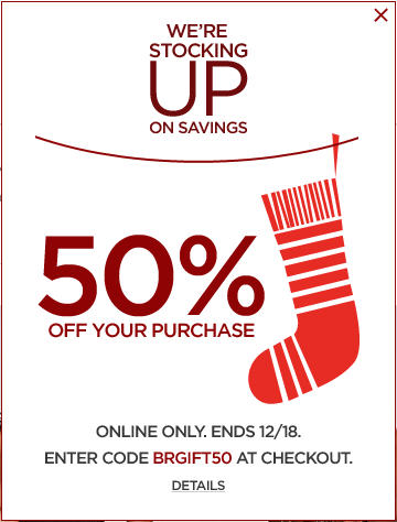 Banana Republic 50 Off Your Online Purchase (Dec 18)