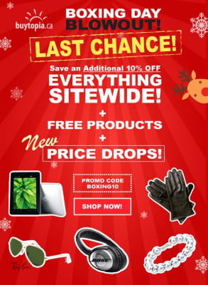 Buytopia Boxing Week Blowout - Extra 10 Off Sitewide + Free Products + New Price Drops