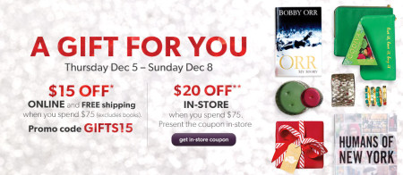 Chapters Indigo $15 Off + Free Shipping when you spend $75 (Dec 5-8)