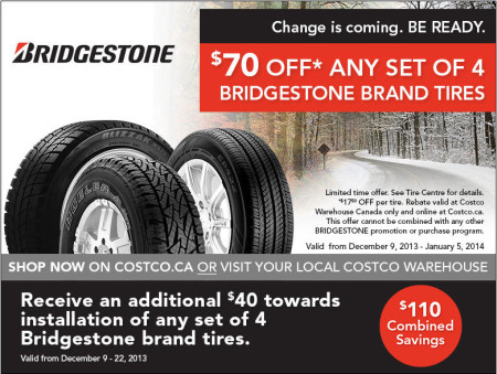 Costco: $70 Off Any Set of 4 Bridgestone Tires + Extra $40 Off