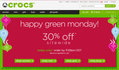 Crocs Green Monday - 30 Off Sitewide Today (Dec 9)