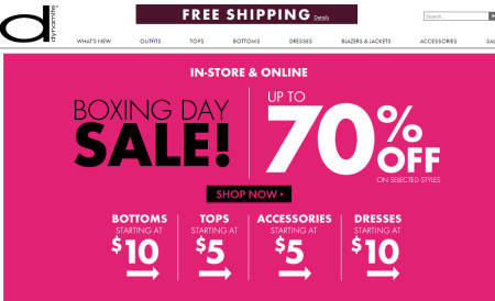 Dynamite Clothing Boxing Day Sale - Up to 70 Off Selected Styles + Free Shipping