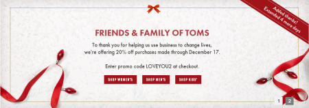 EXTENDED TOMS Shoes - Friends & Family Sale - 20 Off All Purchases + Free Shipping (Until Dec 17)