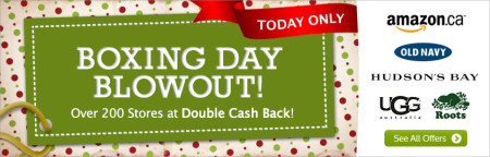 Ebates Boxing Day Blowout - Double Cash Back at over 200 Stores - Today Only (Dec 26)