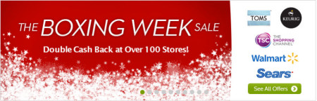Ebates Boxing Week Sale - Double Cash Back at over 100 Stores