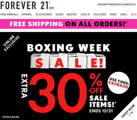 Forever 21 Boxing Week Sale
