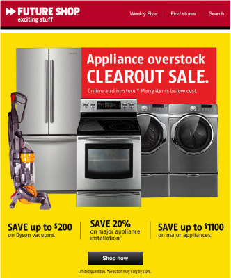 Future Shop Appliance Overstock Clearout Sale