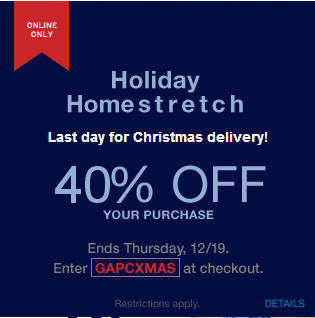 GAP 40 Off Your Online Purchase + Free Shippping (Dec 19)