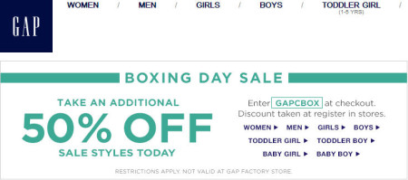GAP Boxing Day Sale - Extra 50 Off Sale Styles (Dec 26)