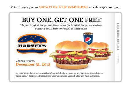 Harvey's Lots of Printable Coupons - BOGO, 2 Can Dine, Meal Deals (Until Dec 31)