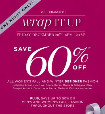 Holt Renfrew Wrap It Up Sale - Save 60 Off (Dec 20, 6pm-12am)