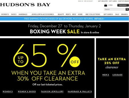 Hudson's Bay Boxing Week Deals - Save up to 65 Off Sitewide (Dec 27 - Jan 2)