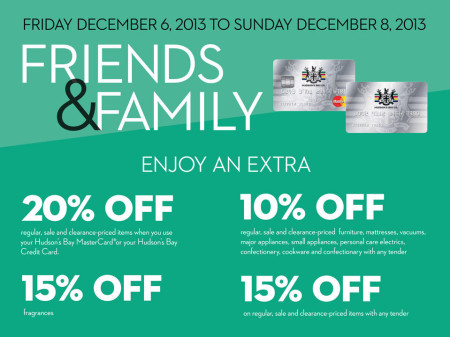 Hudson's Bay Friends & Family Sale - Extra 15-20 Off Everything (Dec 6-8)