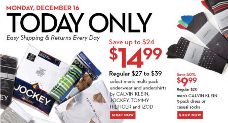 Hudson's Bay One Day Sales - $15 for Men's Multi-Pack Underwear and Undershirts + 50 Off Calvin Klein Socks (Dec 16)