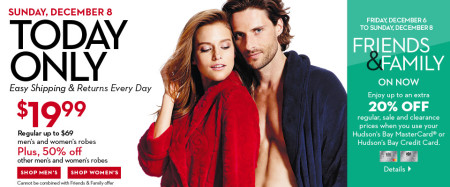 Hudson's Bay One Day Sales - $19.99 for Men's and Women's Robes - 71 Off (Dec 8)