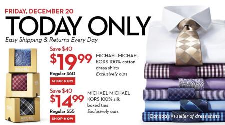Hudson's Bay One Day Sales - $20 for Michael Kors Dress Shirts (Dec 20)